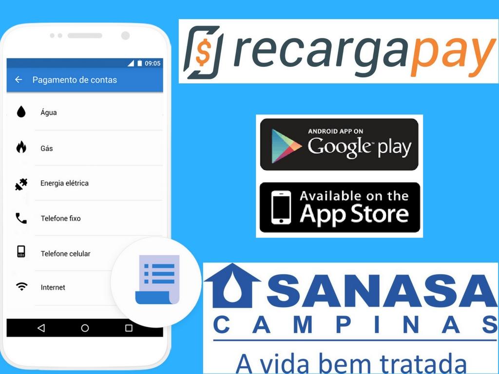 Baixar Recargapay Android o iOS e pagar sua conta Sanasa