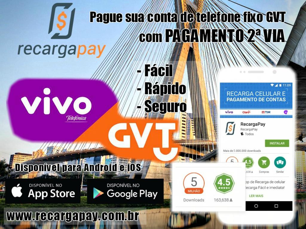 Pague sua conta pelo celular de telefone fixo da empresa GVT com pagamento da 2ª via