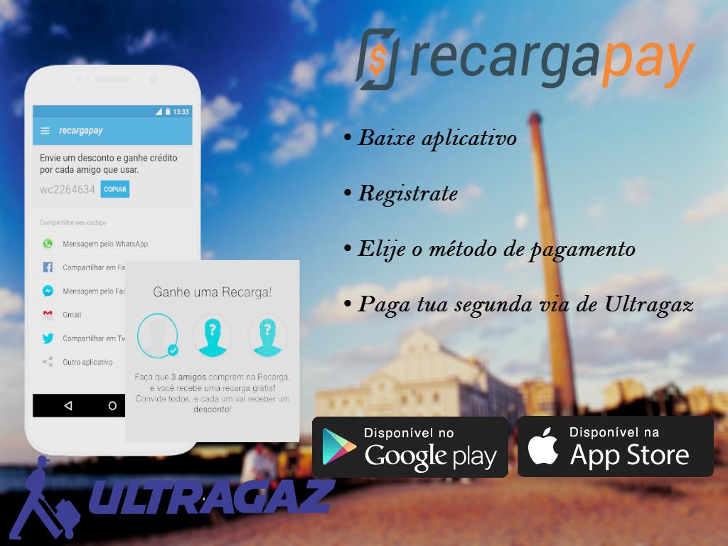 Esta imagem de mostra os passos para pagar sua conta de Ultragaz pelo celular