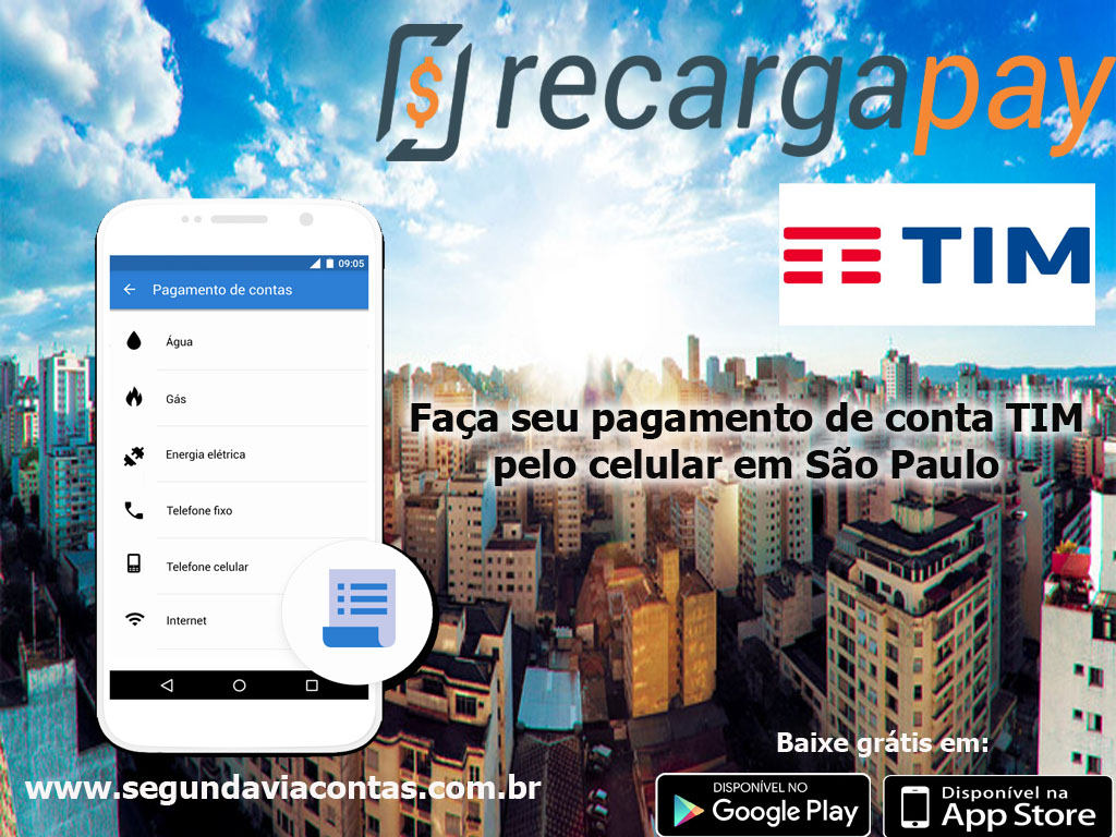 Faça seu pagamento da conta TIM pelo celular na cidade de São Paulo