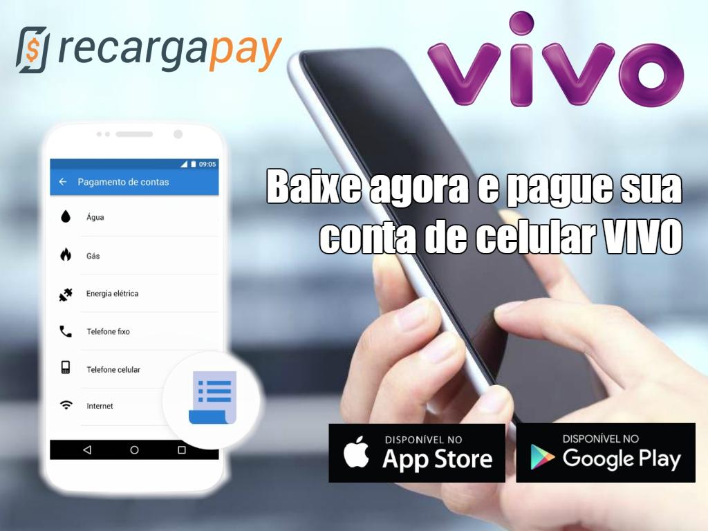 Pagamento da conta vivo pelo celular com o aplicativo Recargapay