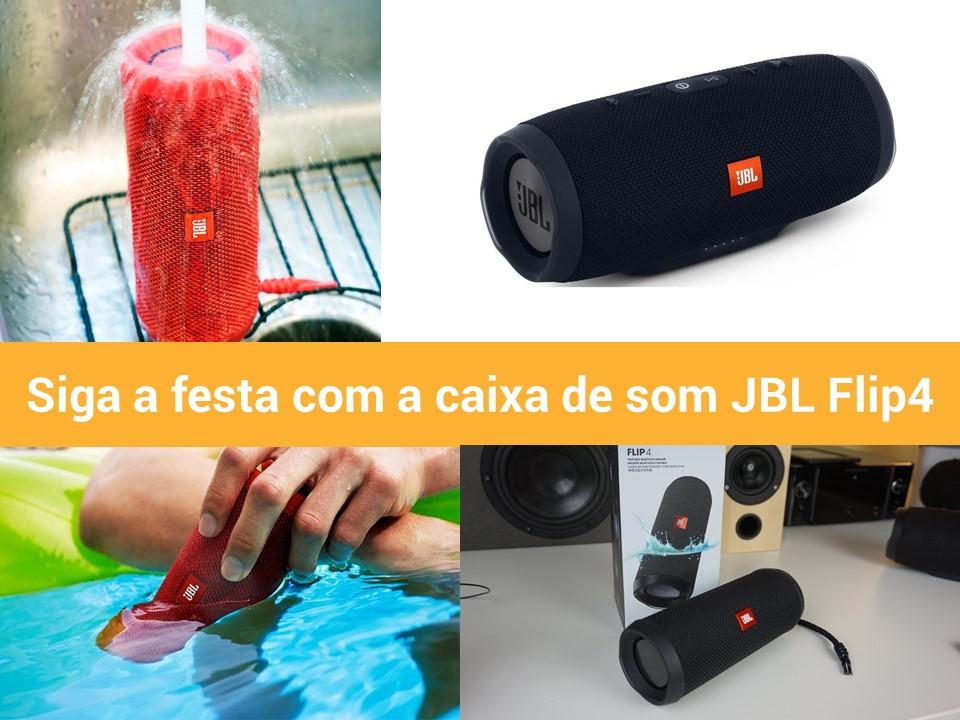 Caixa de som JBL Flip4 potente