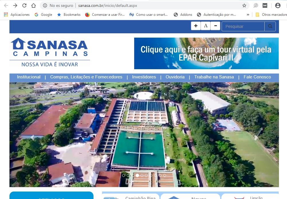 Entre no site de Sanasa